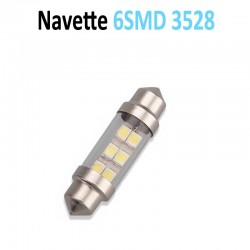 Ampoule Navette Led (6SMD 3528) avec vitre