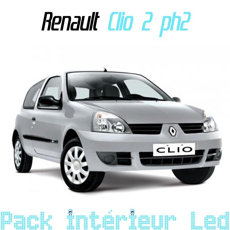 pack int rieur led pour renault clio 2 phase 2 led auto discount. Black Bedroom Furniture Sets. Home Design Ideas