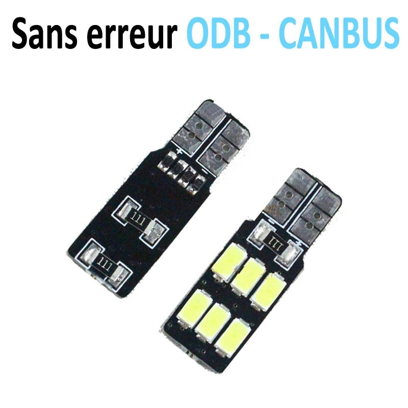 Ampoule T10 W5W Led - (6SMD-5630 - 1 face) 360° - Anti Erreur ODB - Blanc