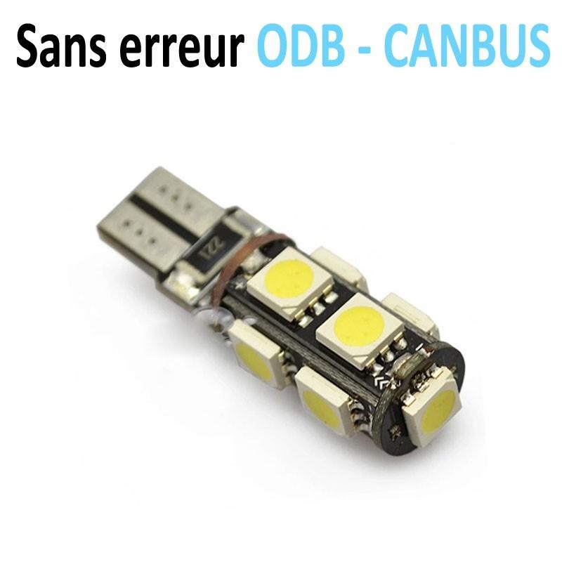 LED T10 W5W - (9SMD) - Anti Erreur ODB - Blanc
