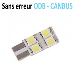 Ampoule led T10 W5W - (4SMD-FACE) - Anti courant résiduel