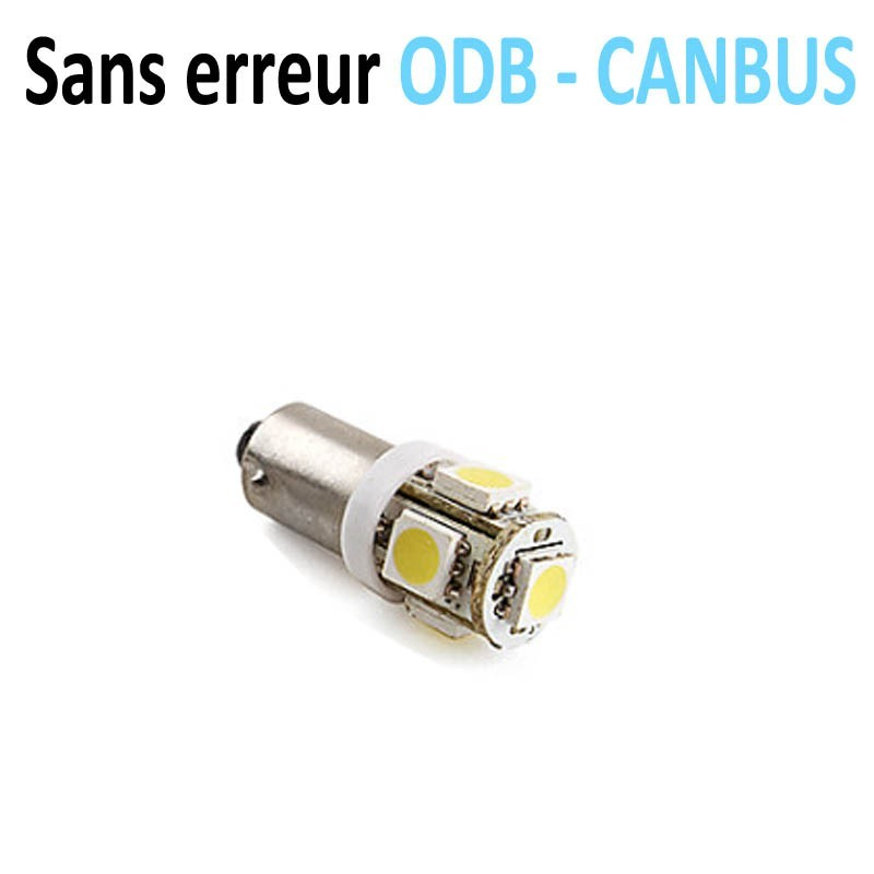 LED H6W BAX9s - (5SMD-5050-3D) CANBUS - Blanc