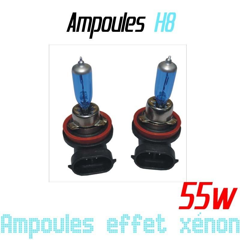 Pack de 2 ampoules H8 effet xénon 6000k