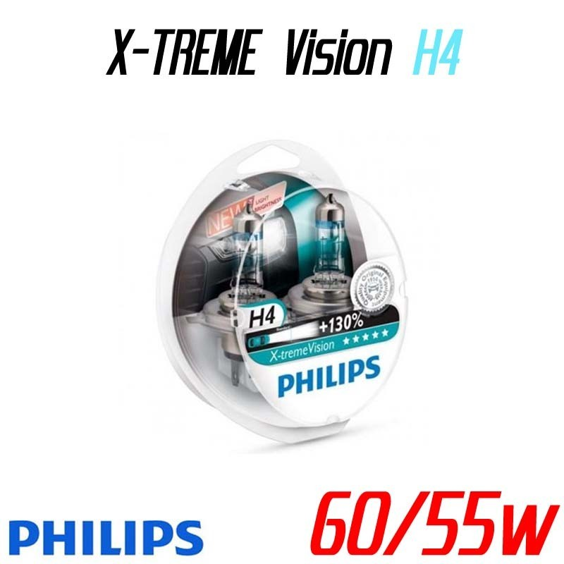 Pack duo Philips X-TREME H4 12V 60/55W +130%