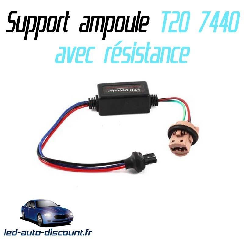 Support ampoule T20 7440 + résistance anti erreure ODB