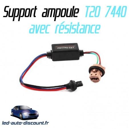 Support ampoule T20 7440 W21W + résistance anti erreur ODB
