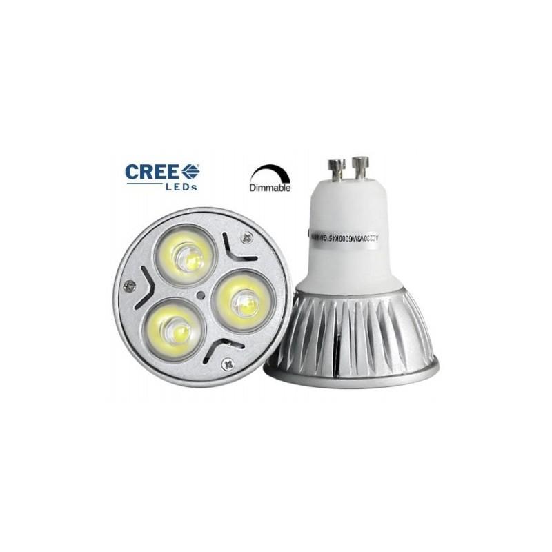 Ampoule LEDs Cree® 9W GU10 Blanc chaud - 220V Compatible Variateurs