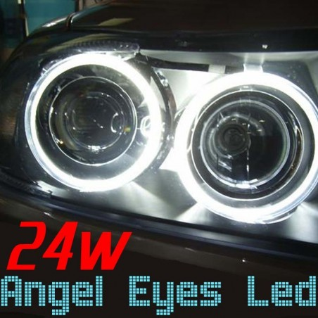 Pack Angel Eyes Led 24w Blanc Xenon BMW E90 E91 Phase 2 LCI (sans xénon)