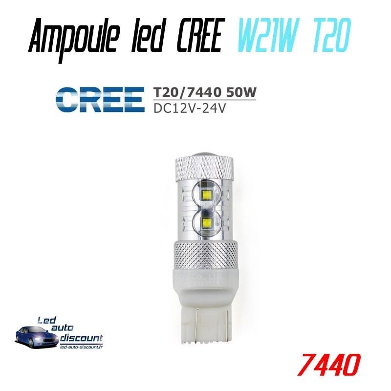 Ampoule led Wy21W T20-7440 - CREE 50w Orange